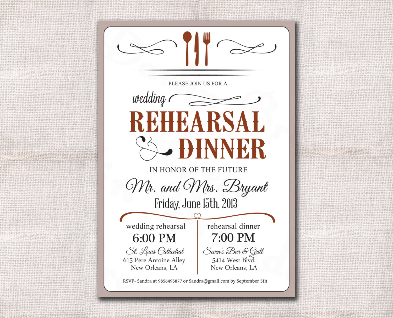 This is a photo of Slobbery Free Printable Rehearsal Dinner Invitations