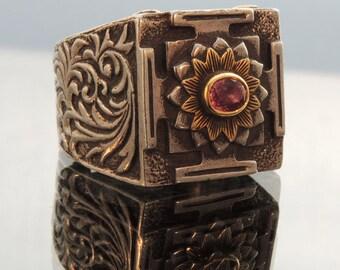Pink Sapphire Ring  22k Gold Silver Mandala Ring Size 7 3/4 US