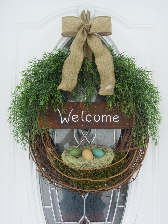 Spring Door Wreath Easter Wreath Welcome Wreath Spring
