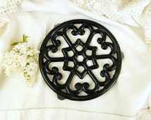 Vintage French Cast Iron Black Enamelled Trivet / Hot Plate / Heat Mat / Cottage Kitchenware/ French Country Decor/ Farmstead/ Home /Kitchen
