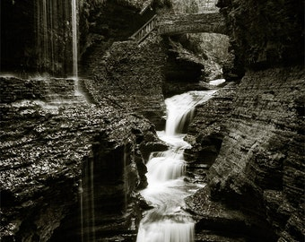 Waterfall Black and White, Watkins Glen photograph, vertical 8x10 print matted on white 11x14 mat.  Rainbow Falls, New York, NY gorge canyon