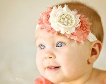 Baby Headband Coral Ivory Vintage Headband Hair Bow Shabby Headband Baby Bows Newborn Headband