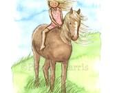 Children's Wall Art Print Illustration - 11 x 14 Giclée print - Horse Girl - Girl's Room Decor- Customizable Hair and Dress Color