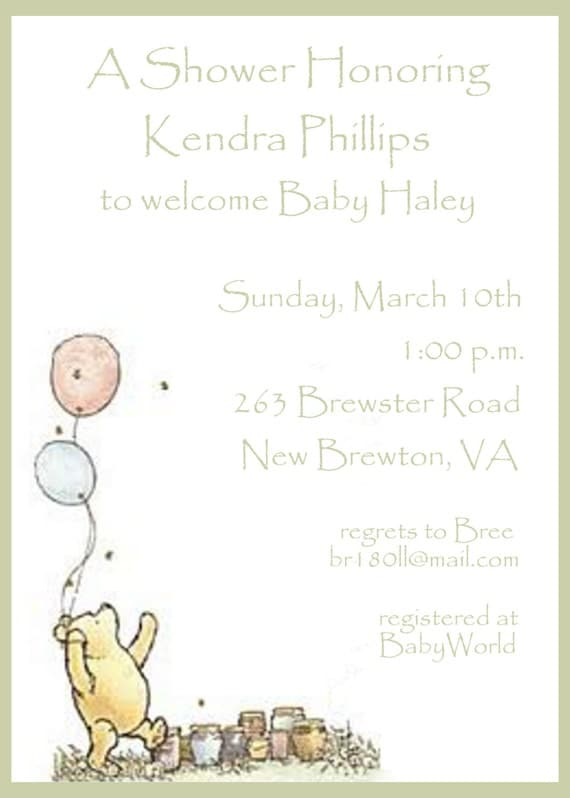 winnie the pooh baby shower invitation by celebrationspaperie