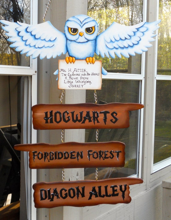 Harry potter hedwig sign for hogwarts forbidden forest and - Harry potter party deko ...