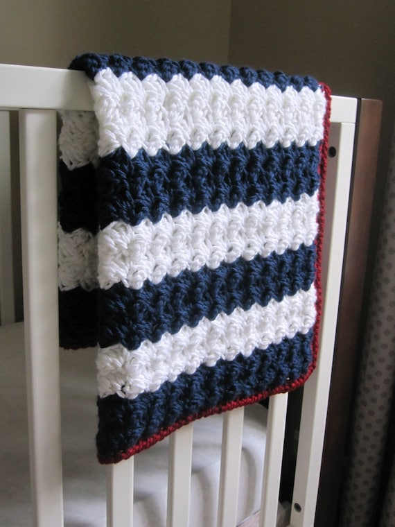 Chunky Nautical/ Preppy/ Americana Reversible Baby Blanket