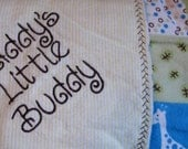 Baby boy blanket  flannel embroidered daddy's little buddy with giraffe, frogs blue green and yellow Personalized