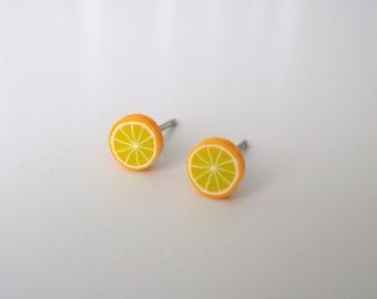 Orange Slice - Earring studs - Surgical Stainless Steel posts - earrings by MyPoppyandWillow