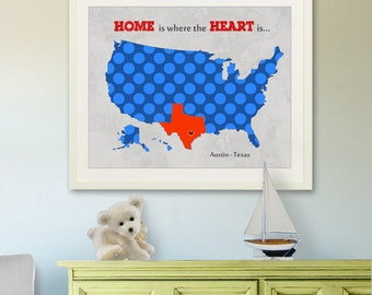 "Kids wall art USA MAP  Poster Print 11""x14"", Colorful Personalized Map Art for Children, Nursery art"