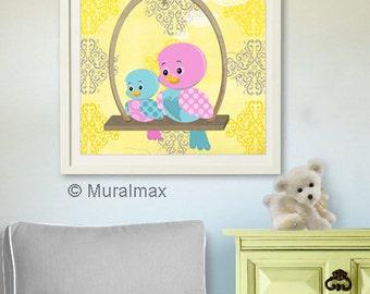 Baby Girl Nursery Decor, Birds Personalized Nursery Art Print, Birds, Floral Baby Room Wall Art For Girls