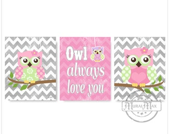 Nursery Wall Art Owl Prints ,Set of tree Girls Room Decor Pink and Green Woodland Owl Nursery Art