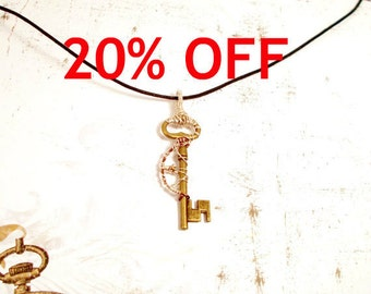 CLEARANCE - Cross Section Wire Wrap Steampunk style Key Necklace