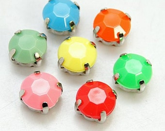 Multicolor Acrylic Rhinestone in Silver Brass Setting Beads/Cabochons