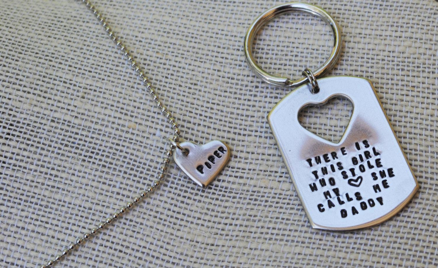There is this girl daddy daughter keychain necklace set for Creative gifts for dad from daughter