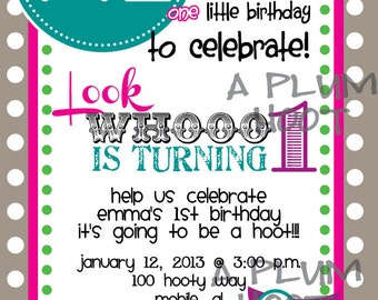 Owl 1st Birthday Party Invitation (DIY)
