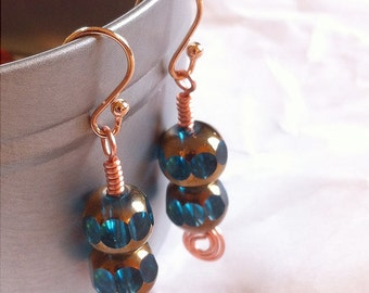 Aqua faceted glass bead, Rose Gold, and Copper Wire earrings