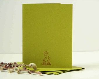 flowers cards, simple style, hand stamped cards, set of 4