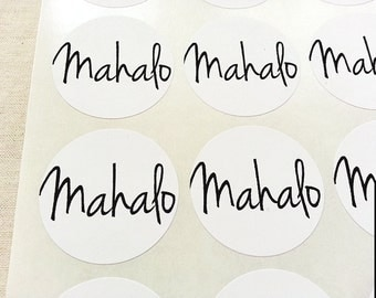 Mahalo Stickers Labels Seals. Thanks Stickers. Set of 60 White Stickers. 1.5-inch. Mahalo Round Stickers Envelope Seals