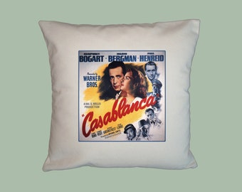 Casablanca Vintage Movie Poster HANDMADE 16x16 Pillow Cover - Choice of Fabric