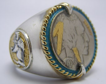 SALE - Vintage Silver and 24K Gold 1937 US Indian Head Buffalo Nickel Men's Ring Honoring The American West Men's Ring