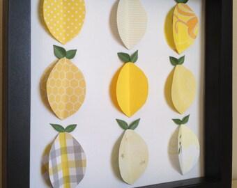 Yellow Lemon, 3D Paper Art, Kitchen Decor, Fruit Decor, shadow box frame by PaperLine