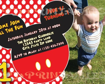 Mickey Mouse Polka Dot Birthday Invitation with picture - Custom Digital File