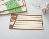 Unused Vintage Brown Address Labels - Set of 10