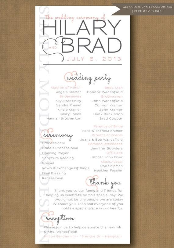Wedding Ceremony Program Hearts PRINTABLE By SimplyModernDesignx