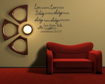 Wall Decal Sticker Quote Vinyl Love is Patient Love is Kind Corinthians Bible Quote (C80)