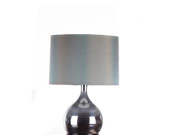 Modern Chrome Lamp Wood Base