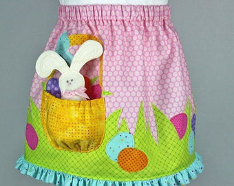 Girls Easter skirt pattern, pdf sewing pattern, Easter dress, Easter bunny skirt, Easter appliques,BUNNY SKIRT