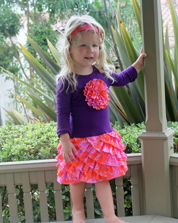 Girls T-shirt dress pattern ruffle skirt by mackandlilypatterns