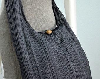 60s 70s Modern Classic Cotton Bag Hippie Bag Boho Bag Hobo Bag Crossbody Bag Sling Bag Shoulder Bag Messenger Bag, Black Rainbow