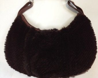 Vintage Mink and Leather purse with horn handle