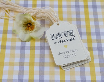 25 -Vintage Love is Sweet tag, Wedding Thank you Tag, Customizable Thank You Tag, Cottage Rustic Chic Thank you Tag, Shower Tag, Favor Label
