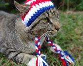 July 4th Hat for Cats, July 4th Cat Hat, July 4th Cat Costume, July 4th Costume for Cats - The American Pride Beanie for Cats and Dogs