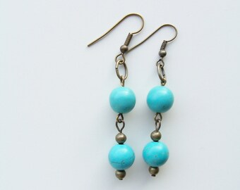 Turquoise stone and brass earrings - dangly earrings - stone earrings - turquoise earrings - blue stone earrings