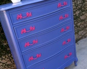 Custom Dresser, French Provincial Tall Boy Dresser, 5 Drawer, Painted PInk and Blue, Bedroom Dresser (Los Angeles)