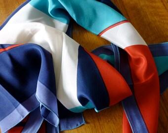 Pure Silk Vintage Scarf, Mid Mod 1970s Geometric Bold Colors / Turq Navy Red Peri