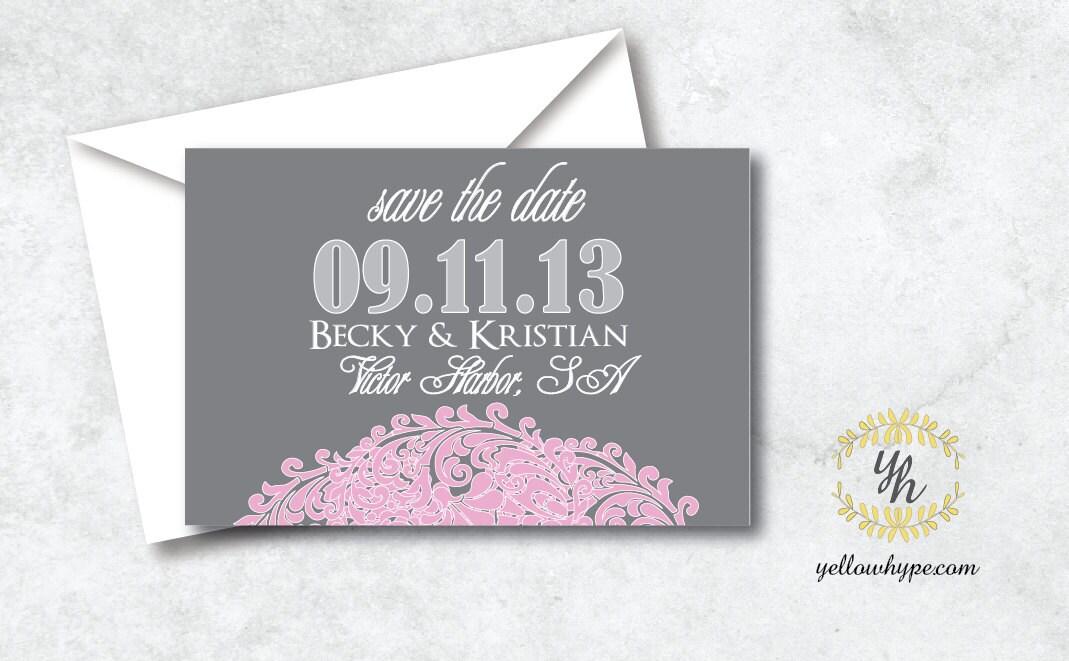 Electronic Wedding Invitation: Digital DIY Wedding Invitation Pink & Grey By TheWhiteInvite