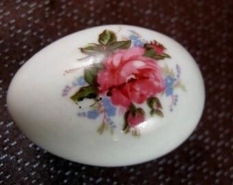 Vintage Floral Motif Shackman Mini Porcelain Egg Ring Box  Made In Japan