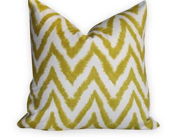 Chevron Artist Green Pillow Cover - Same Fabric BOTH Sides - INVISIBLE Zipper Closure - 18x18, 20x20, 22x22 & lumbar sizes