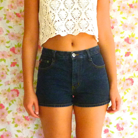 Vintage 90s Dark Wash Denim Shorts High Waisted by ParadisePrairie