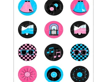 Retro Party - Printable 1950's Sock Hop Cupcake Toppers - Sock Hop