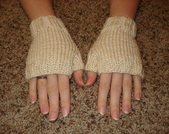 Cream Fingerless Gloves (small)