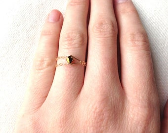 Gold Chain Ring - Gold Swarovski Crystal - Double Strand