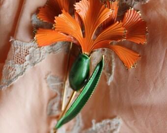 1960's Bright Orange Carnation Brooch