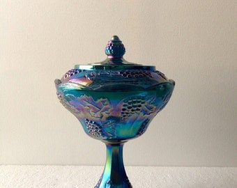 Vintage Indiana Glass Harvest Blue Wedding Bowl Compote With Lid 1970s