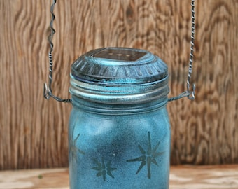 Canning Jar Solar Light, Mason Jar Outdoor Light, Turquoise and Black Stars perfect for the Garden