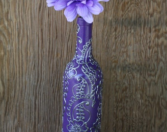 Hand Painted Wine bottle Vase, Up Cycled, Purple background with Silver accents